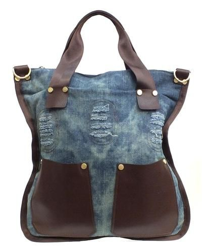 Giovani Rucci Denim Tote Bag Purse with Leather Pockets Carry All Book Bag
