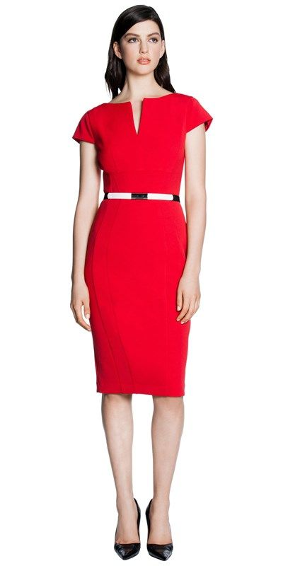 Made from stretch double weave fabric from Europe, this fitted cap sleeve dress features a boat neckline, which splits into the front. Finished with shaped seaming and an elastic magnet buckle belt. Fully lined, fastened with an invisible zip back. Made in Australia.