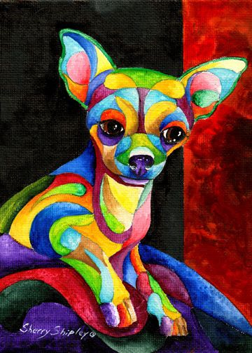Chihuahua Original 5x7 Acrylic Framed Dog Painting By