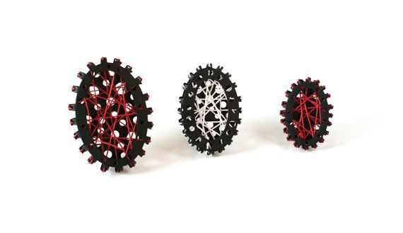 Black and Red Metal Brooch Geometric Brooch Contemporary Art