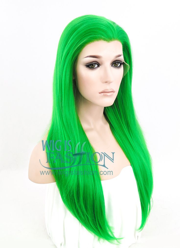 "24"" Long Straight Green Lace Front Synthetic Hair Wig LF031 - Wig Is Fashion"