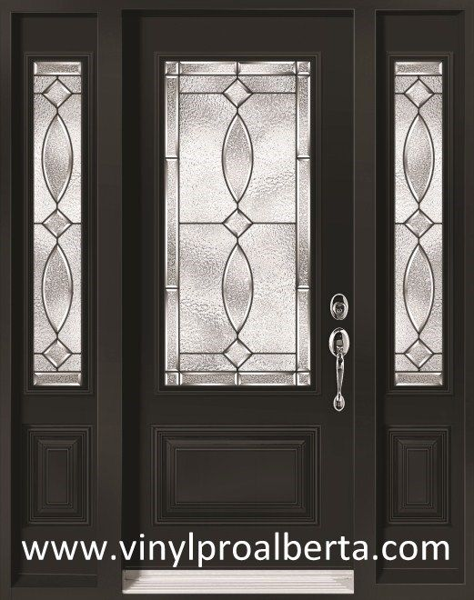 Exterior Steel Entry Door With 2 Sidelights 3 4 Glass