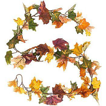 Guirlande décorative feuilles automnales, longueur : 1,95 m, idéal pour la confection de couronnes de porte, pour des décorations de table, etc (8.95)