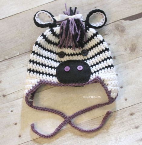 Free Crochet Pattern Zebra Hat : Repeat Crafter Me FREE Zebra Hat Pattern crochet ...