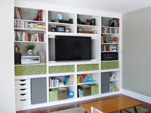 Diy Patterned Fabric Bookshelf Cover Up