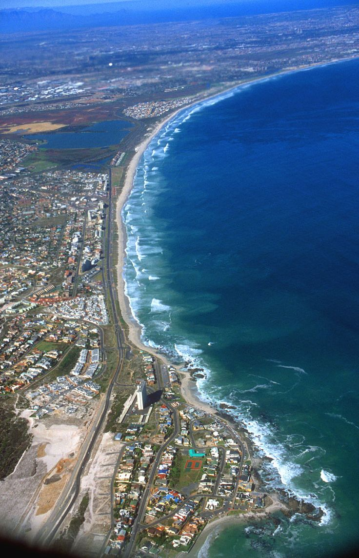 Beautiful Bloubergstrand, South Africa from the air