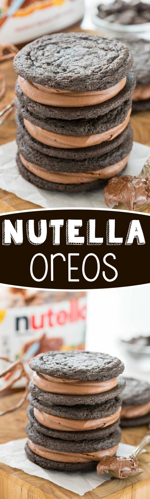 Homemade Nutella Oreos - this easy cookie recipe tastes JUST like an Oreo! Filled with the BEST Nutella frosting recipe, they're so good we couldn't stop eating them!