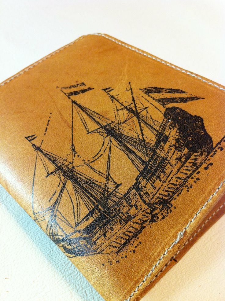 leather billfold wallet men with card slots handprinted custom for you large ship. $18.00, via Etsy.
