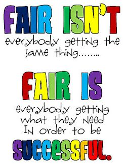 Classroom management strategy. Working with special needs individuals means differentiation and accommodations. Some students will get things that others will not; they may have different work tools. This is a great motto in a classroom to help all students understand that fair does not mean getting the same thing. It is important for students to accept the differences within the classroom and to understand that the goal of school is to be successful for everyone involved.