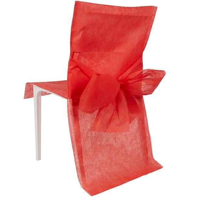 Housse de chaise rouge x10