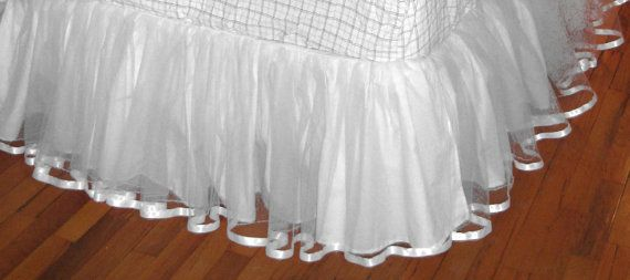FULL Size TULLE Bedskirt in Whitest White by cosmofields on Etsy, $83.75