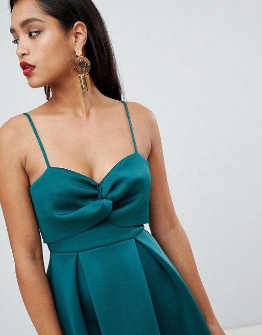 a068862aaad8 ASOS DESIGN | ASOS DESIGN crop top midi prom dress with twist detail