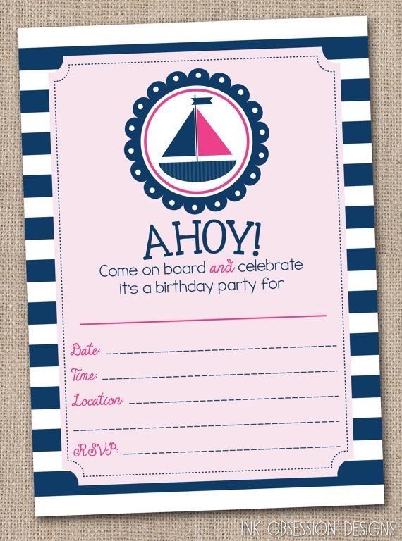 812 mejores im genes de Nautical Party theme en Pinterest – How to Fill out a Birthday Party Invitation