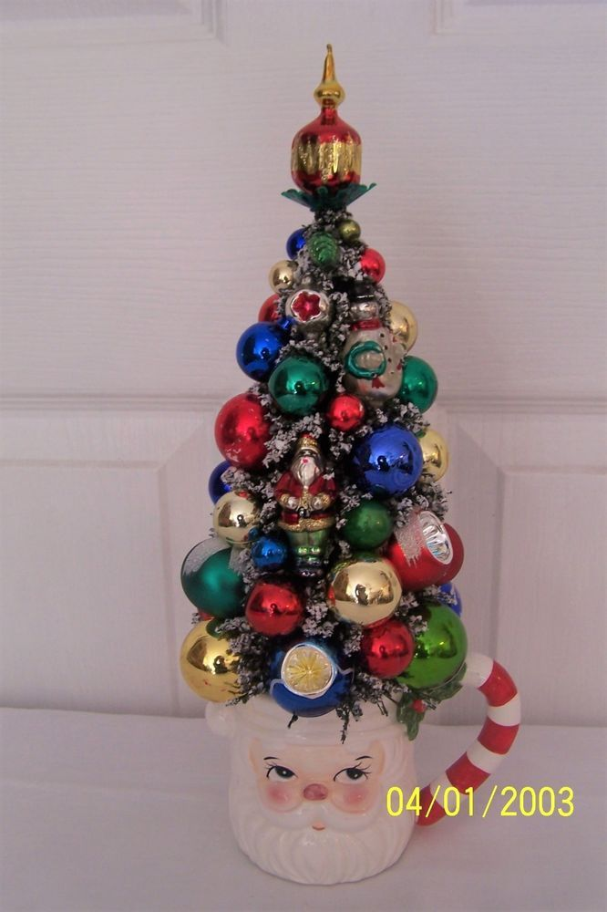 bottle brush christmas tree with vintage mercury glass ornaments 13 tall