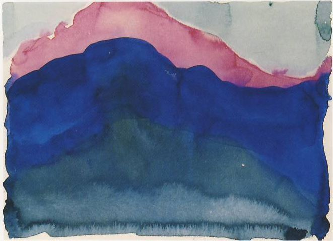 """Georgia O'Keeffe Pink and Blue Mountain 1916 watercolor on paper """