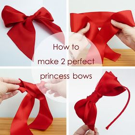 How to make 2 perfect princess bows. Using extra wide satin ribbon makes bow making so much easier. Includes a tutorial for a Belle bow and a Snow White headband.