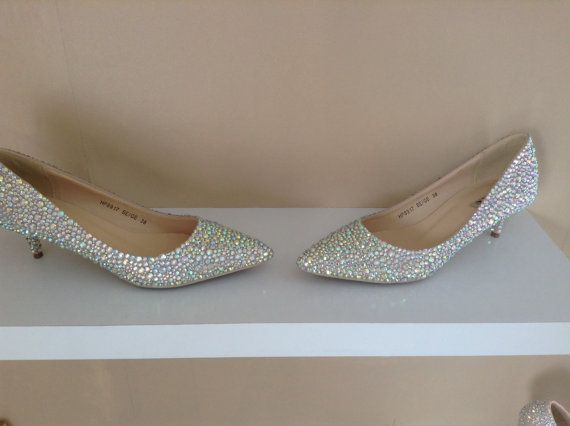 Crystal kitten heel shoes ~ rhinestone low heels ~ bridal shoes for tall brides ~ low wedding heels ~ gift for wife girlfriend