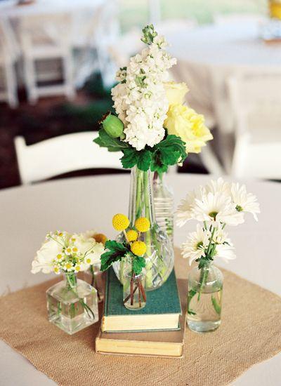 sweet centerpiece with books | Jamie Clayton #wedding