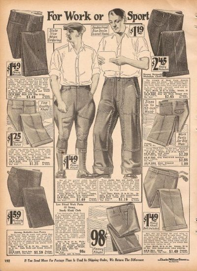 "1920s mens work clothing. 1927 mens work pants in denim or heavy khaki. Center pants are ""overalls"" style."