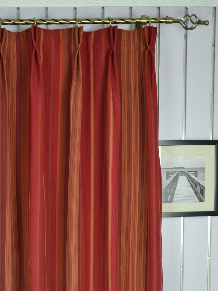 Hudson Yarn Dyed Irregular Striped Blackout Double Pinch Pleat Curtains - Custom Curtains Drapes Draperies Sheers Rods and Tracks Fabric material: 50% cotton, 45% polyester, 5% viscose Color: Oxford Blue, Terra cotta, Linen, Coffee, Cardinal, Charm pink, Olive, Capri, Bondi blue, Fern green Patterns are yarn dyed. Fabric weight: 279.6gsm Pattern repeat: 48.5cm(W) Pleat frequency: 5 pleats (62cm W), 10 pleats (125cm W) Pleats are 10cm deep. Panels are with 100% cotton lining
