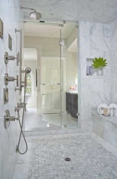 bathrooms - walk-in shower marble basketweave tiles floor marble tiles shower surround rain shower head Huge walk-in shower with marble basketweave