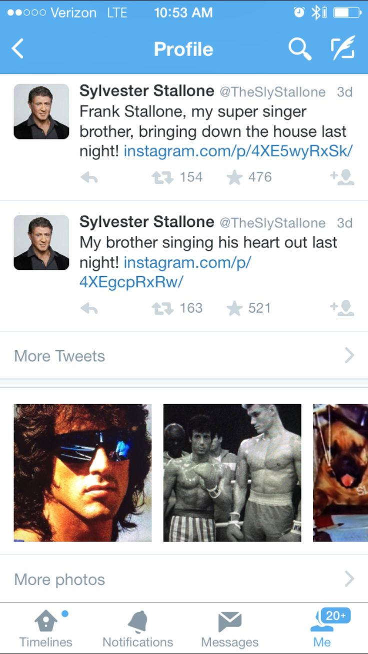 "Sylvester Stallone Twitter/Instagram account is Da Bomb!!.. SLY has the best Throwback pics ever!!..LMFAO!!..I need to stop tweeting him!!.. ..PS: Sly, please tell me, ""Yo Adrian!!"" or ""Drago""..I grew up watching you, Arnold, and Bruce Willis!!..Yes, I've seen every movie!!..I love Action/Hero Movies!!..Real Men!!(My brother DJ is included)..High Testosterone!!..I miss that!!..Things have changed!!..I'm watching Rambo First Blood right now!!..Hehehe!!.. #SlyStallone #RockyBalboa…"