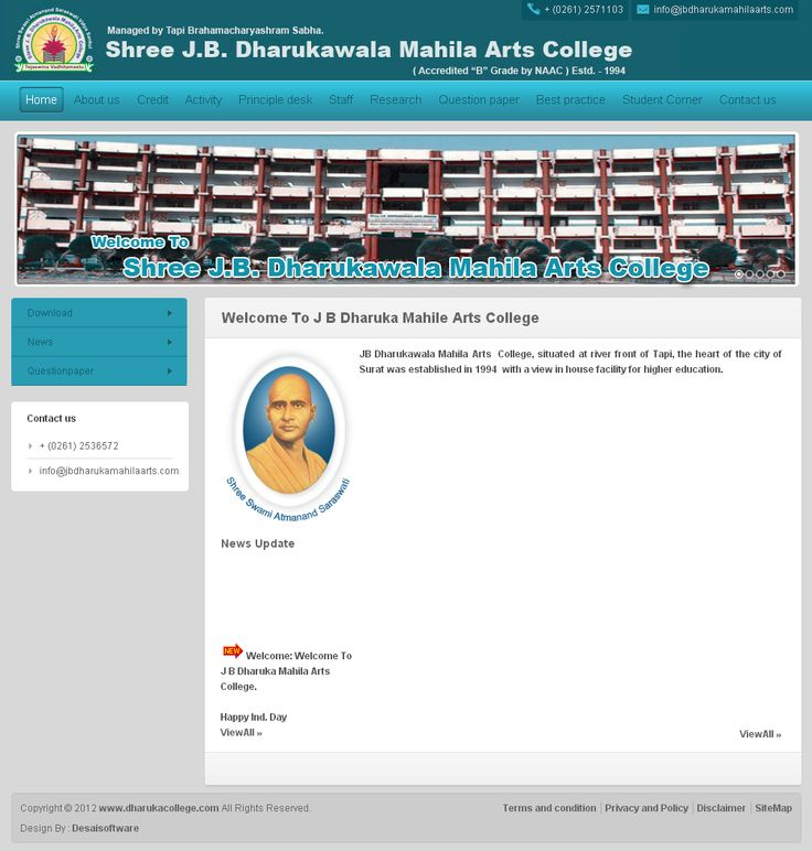 www.desaisoftware.com/General/GApplication.aspx?id=1  JB Dharukawala Mahila Arts  College, situated at river front of Tapi, the heart of the city of Surat was established in 1994  with a view in house facility for higher education.