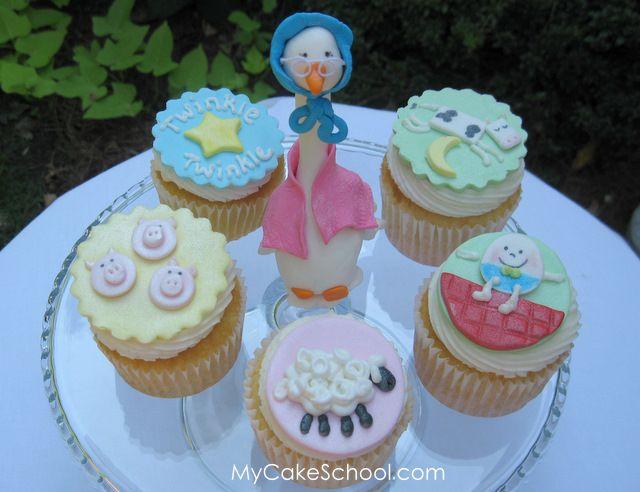 mycakeschool: Nursery Rhyme Cupcakes! tutorial for: mother goose, humpty dumpty, sheep etc