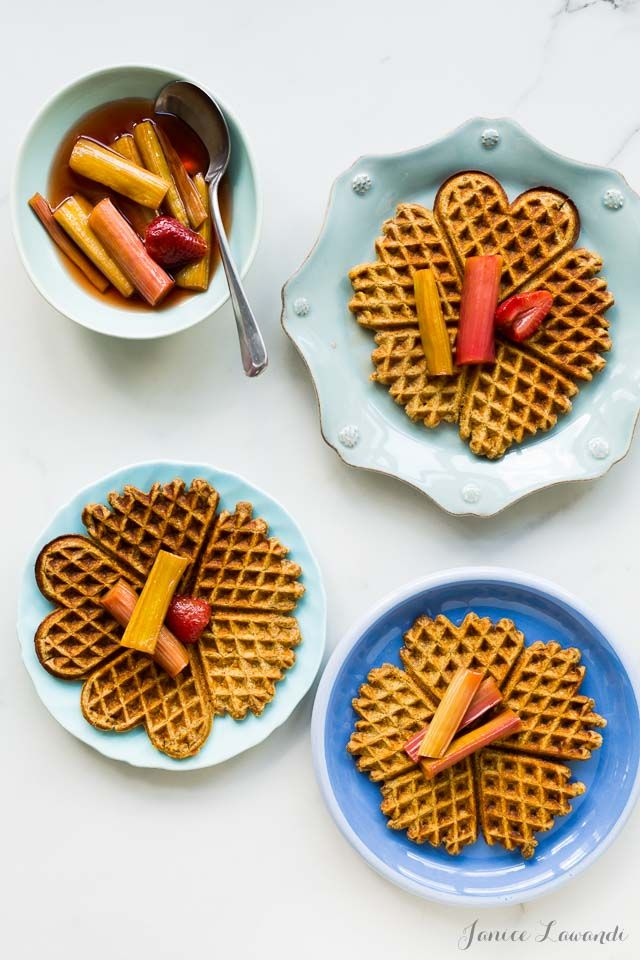 A recipe for multigrain waffles with tea-roasted rhubarb - this makes a great dish for a spring breakfast or brunch