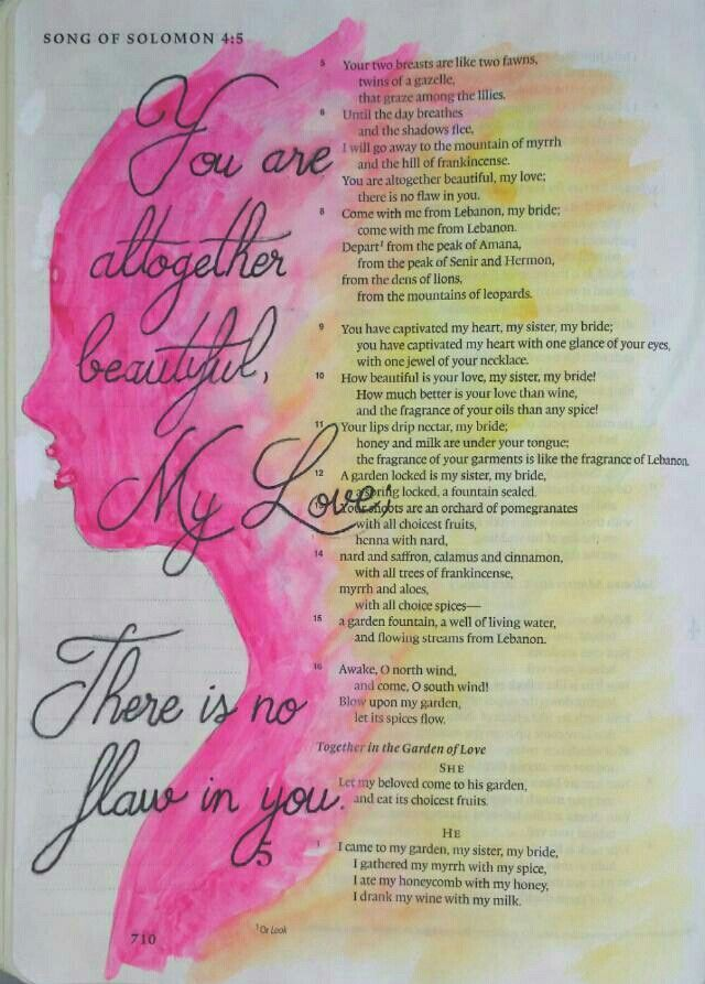 Song of Solomon 4:7 Bible art journaling by @peggythibodeau www.peggyart.com