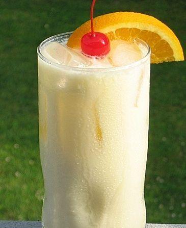 Tropical Bliss (1 oz. Malibu Coconut Rum 1 oz. Pineapple Rum 1 oz. Orange Vodka 2 oz. Orange Juice 2 oz. Pineapple Juice 2 oz. Half & Half Orange slice/Cherry for garnish). by maryellen