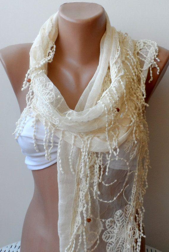 Cream summer scarf Elegant woman scarfs Christmas by elegancescarf, $21.00