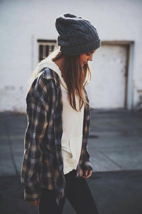 great day-to-day casual....basic thin hoodie under long flannel with a beanie and skinny jeans