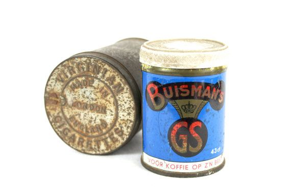 Old Small Tins With Lids Old Tobacco Tin Blue by VerifiedVintageNL