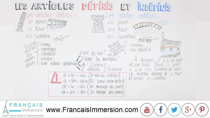 French Lesson - French Articles (Definite and Indefinite) - Les Articles Définis & Indéfinis. VIDEO+TRANSCRIPT here: https://www.francaisimmersion.com/french-articles-definite-indefinite/