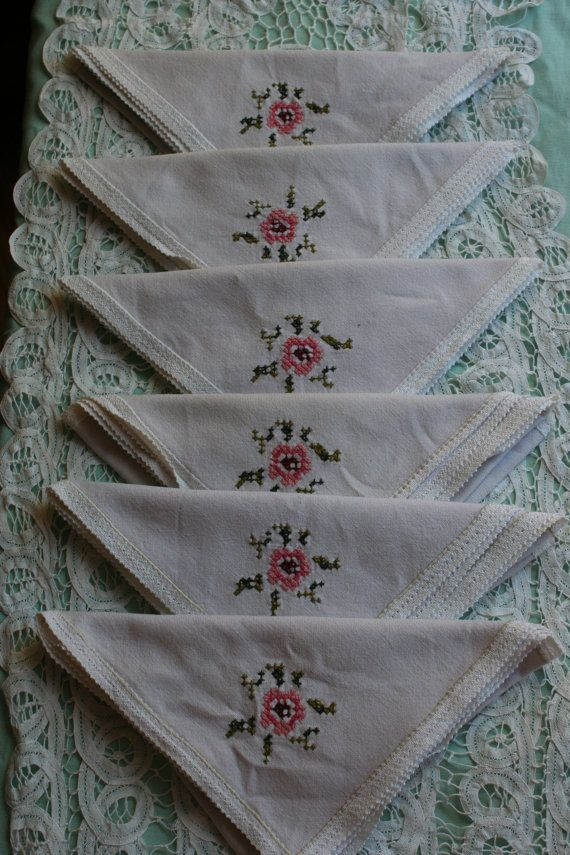 White French Vintage Linen Serviettes x 6 by FromParisToProvence, €25.00