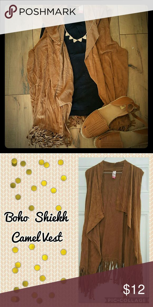 Boho Shiekh Camel Vest Excellent Used Condition  Add the cute and shabby piece to your wardrobe!! Summer must have! Jackets & Coats