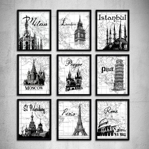 Wedding gift typography art travel poster set 9 prints london paris moscow pisa landmark world map