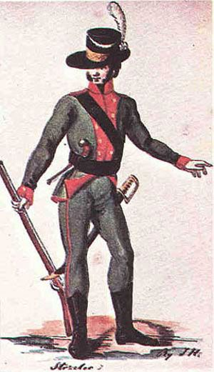 The Polish Army in 1789-1794 years: Rifleman of 1st Infantry Lithuanian Regiment. 1792-1794.