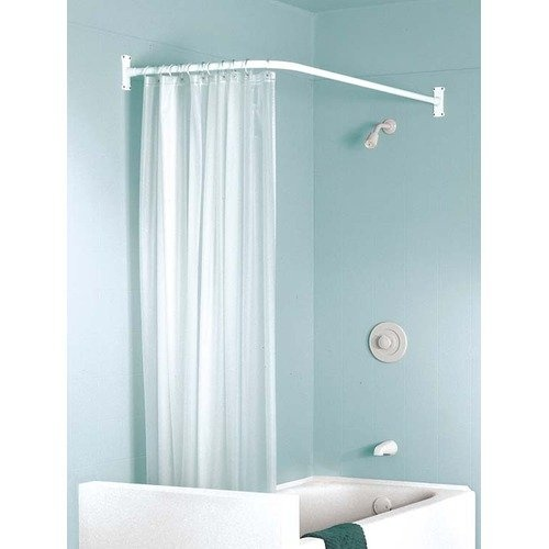 L Shaped Curtain Rod Bathroom Redo Pinterest