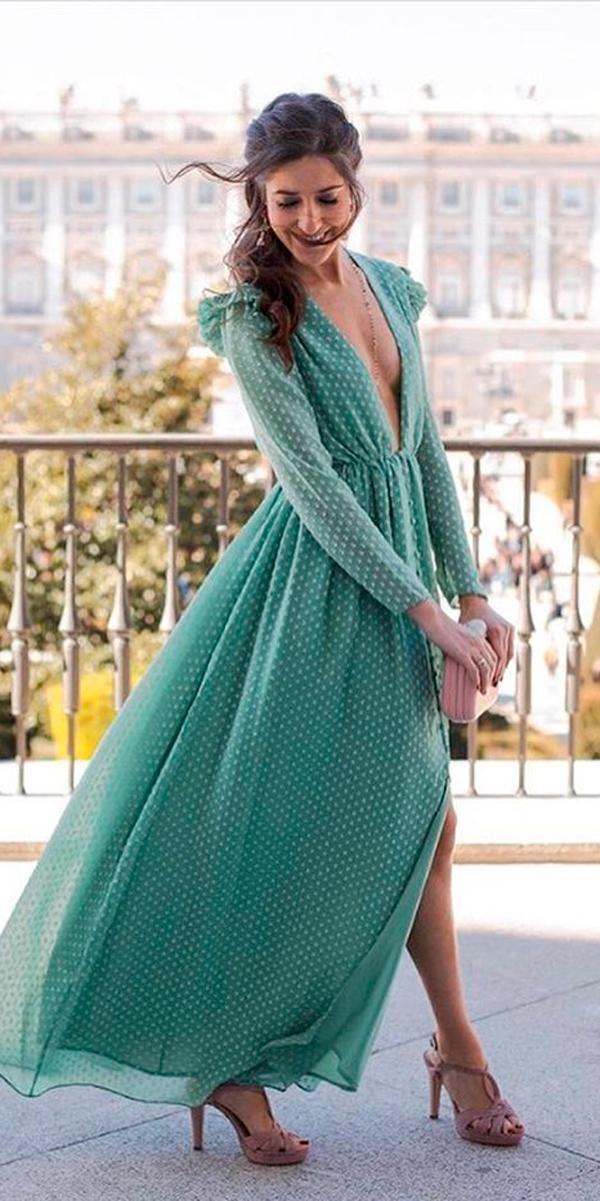 baae71368e beach wedding guest dresses fall green deep plunging v neck long sleeve  segadecastro