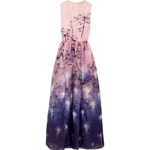 Mary Katrantzou + Disney printed silk-organza gown ($1,975) ❤ liked on Polyvore featuring dresses, gowns, baby pink, pixie dress, purple evening gowns, faded dress, colorful gowns and multi colored dress