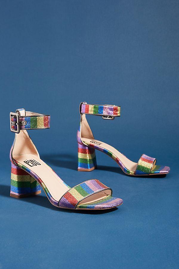 on feet images of free delivery official images Bibi Lou Rainbow Block Heels | Heels, Block heels, Kitten heel pumps