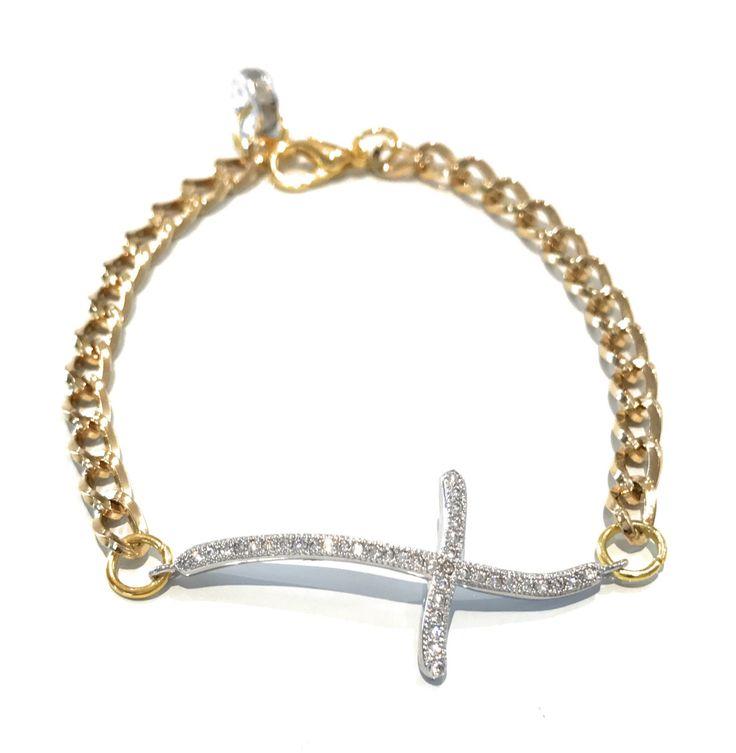 A personal favorite from my Etsy shop https://www.etsy.com/listing/476234624/cross-bracelet-sideways-cross-bracelet