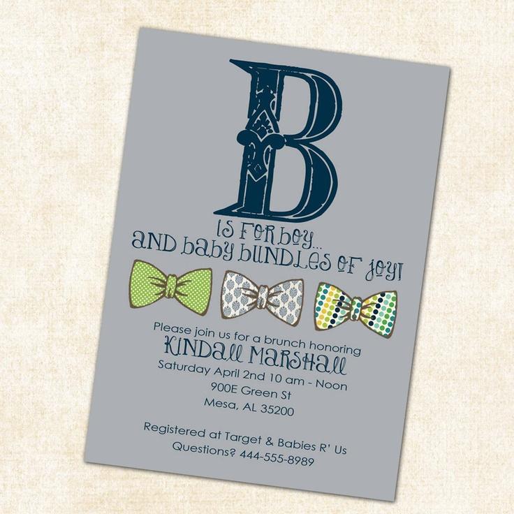 inspirational baby shower invitation wording%0A Baby boy shower invitation  b is for boy with bow ties  digital  printable