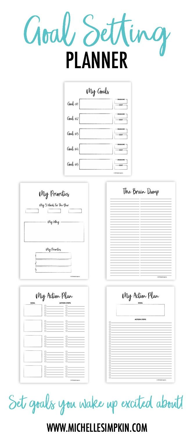 Set goals that you're excited to wake up to each morning! Use this Goal Setting Planner to find the goals that will make your soul soar. Goal Setting Planner | Goal Setting | Goals | Goal Printable | Printables | Printable Planner #goalsetting #printableplanner #goals www.michellesimpkin.com/products/goalplanner