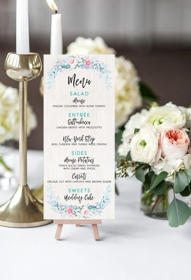 Etsy Romantic Floral Wedding #ad Menus - Pastel Calligraphy Printable or Printed Wedding Menu Cards
