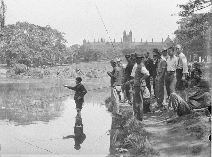 Fishing at Victoria Lake, Sydney Uni, 1930