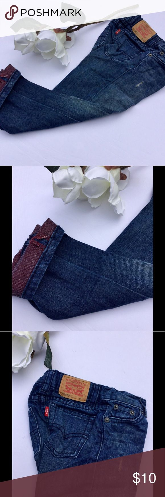 ⚜️Levi's 511 Slim 3t Jeans⚜️ Levi's 511 3t jean⚜️Two tone Jeans with burgundy cuffs for major cuteness⚜️Adjustable waistband⚜️Dark wash with distressing styling⚜️Good condition and no stains Levi's Bottoms Jeans