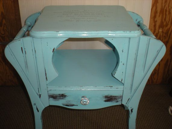 End Table Magazine Rack Vintage Table Aqua Blue French Logo